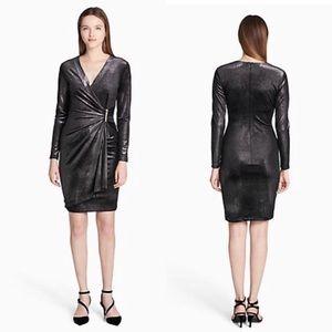 Calvin Klien Black velvet glitter wrap dress party